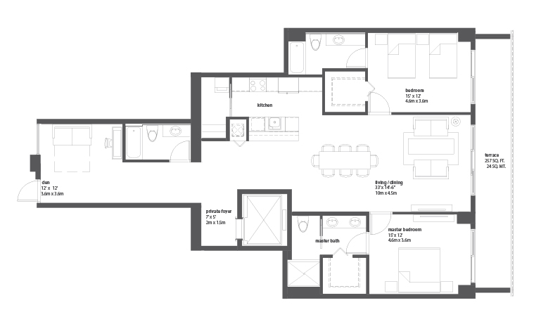 Bay house miami residences for Miami mansion floor plans
